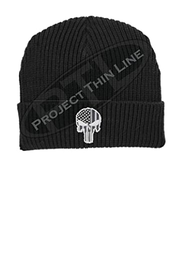 d4ac6e3516d Project Thin Line Tactical Subdued Punisher Skull with American Flag  Support Police SWAT Military Winter Watch