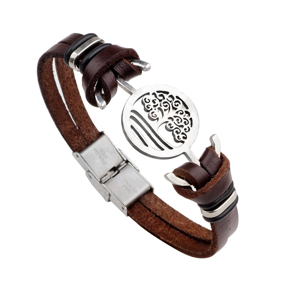 Brilendid Handmade Stainless Steel Tree of Life Leather Double Layer Cuff Bracelet (Brown)