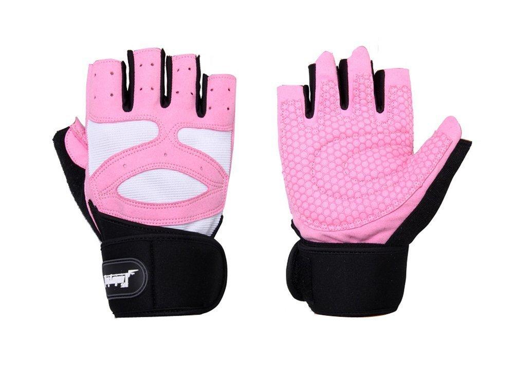 Wrokout手袋レディース、yubier Weight Lifting手袋レディースwith手首のサポートジムワークアウト B01I3OGLGG Medium|ピンク ピンク Medium