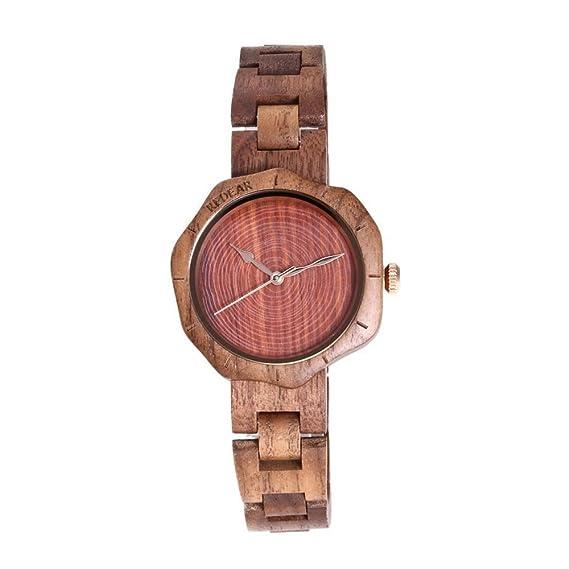 de las mujeres de lujo de la nuez de madera Reloj del japonés del análogo de cuarzo correa de reloj de madera: Amazon.es: Relojes