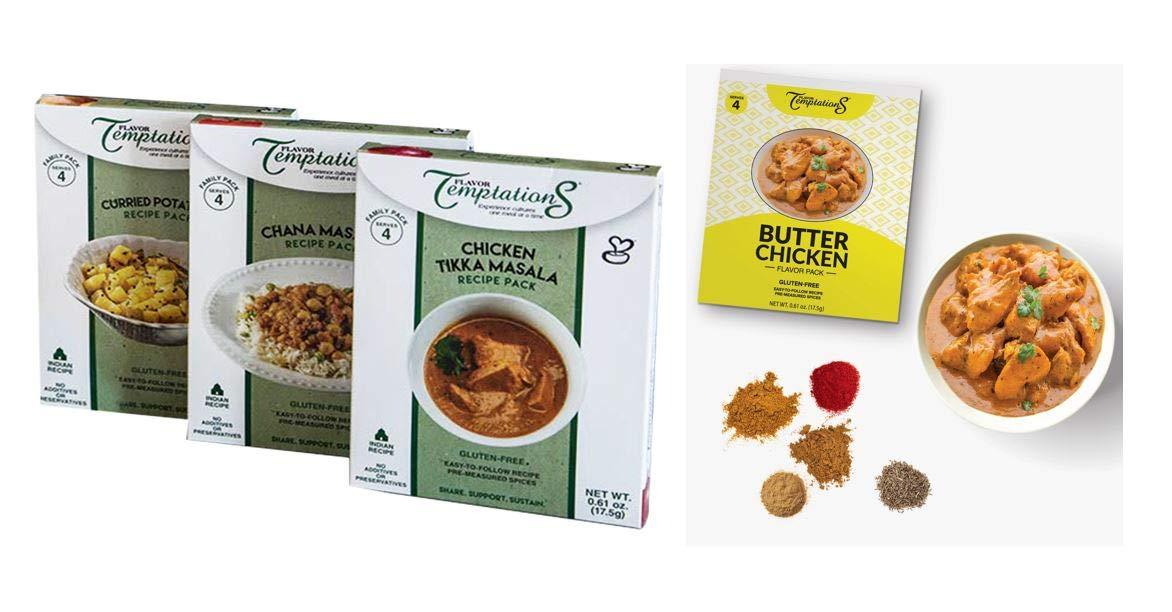 Chicken Tikka, Chana Masala, Butter Chicken, Potato Curry Indian Food Spices by Flavor Temptations. Home Cook Variety with Beginner Seasoning Set. Gluten free, Salt free. 4 serving / flavor