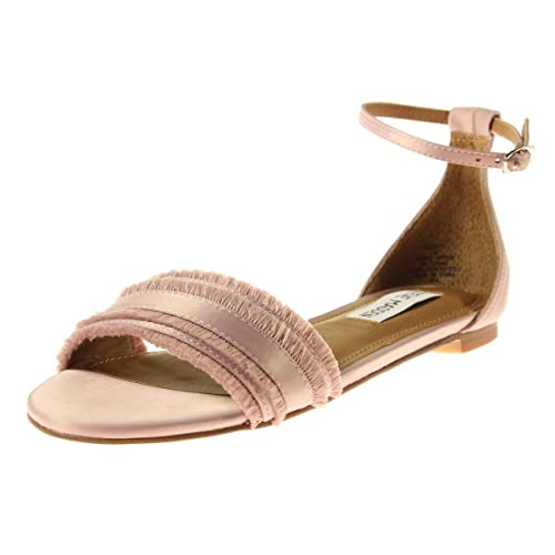 39e0c826dac7 Steve Madden Womens Society Satin Frayed Trim Flat Sandals Pink 7.5 Medium  (B