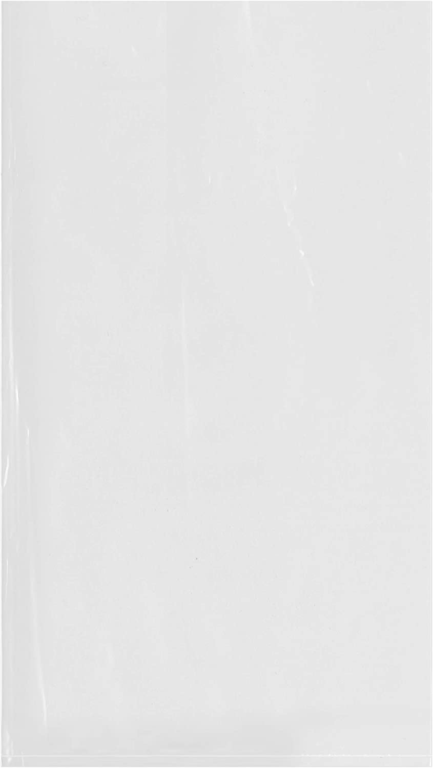 Plymor Flat Open Clear Plastic Poly Bags, 2 Mil, 9