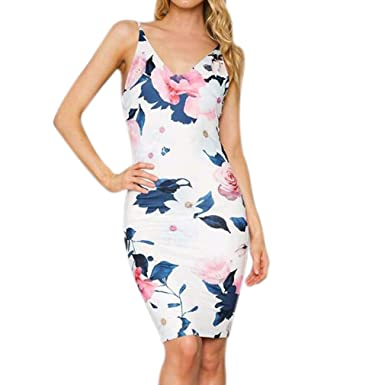 41b8424a884 Honghu New Sexy Women Summer Floral Printed Bodycon Dress Party Cocktail  Dresses Deep V Neck Sleeveless
