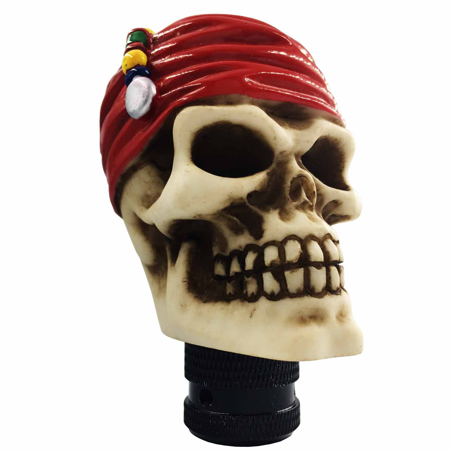 Bashineng Skull Shift Knob Resin Red Headband Manual Automatic Transmission Knobs Shifter Lever Car Accessory