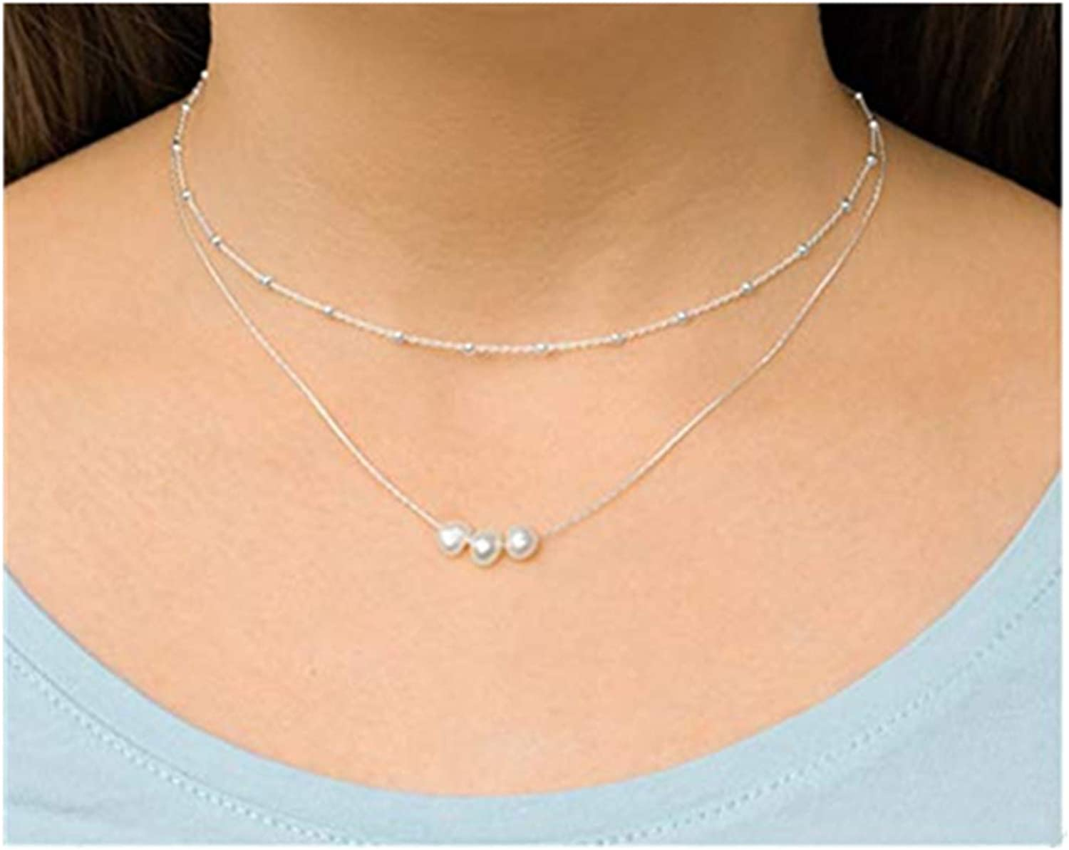 Colourful Silver Necklace Summer Delicate Dainty Fashion Necklace Layering Necklace Extra Long Jewelry Simple Every Day Jewelry