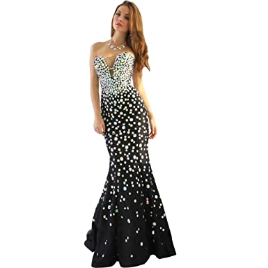 0be556554520f DingDingMail Women's Crystals Strapless Mermaid Prom Dress Long Party Gowns  Black