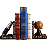 ISOTO Bookends Globe and Telescope Shelf Tidy Book Ends - Heavy Vintage Storage Hipster Office Study CDs DVDs Exploration Gifts