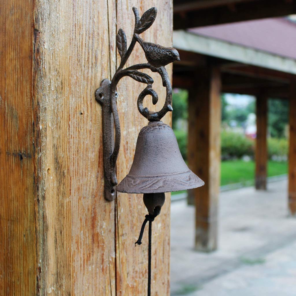 FLYSXP Cast Iron Crafts Wrought Iron doorbell Rattle Branch Birdie Bell Home Decoration Wall Decoration 12.5x9.8x23.5cm Vintage doorbell