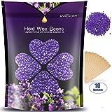 Wax Beans - Anreacho Hard Wax Beans, Natural Wax Beads Hair Removal Wax for Bikini Arms Legs Face Armpits Hair Removal Lavender with 10 spatulas 17.6 oz/1.1 lb