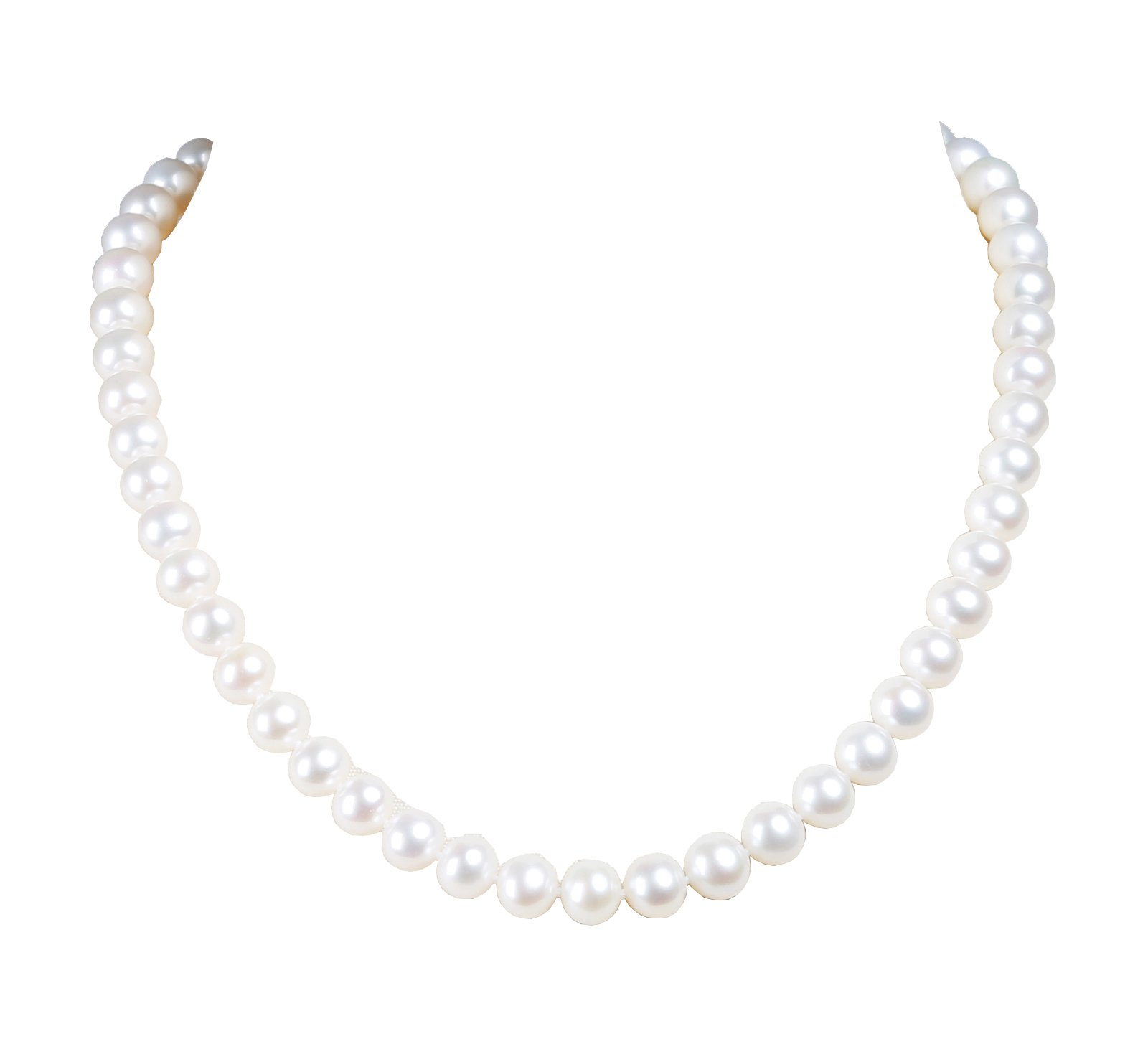 AIDNI AAA Quality Freshwater Cultured White Round Pearl Necklace, Prince Length 18.5'' (7.5-8.5mm)