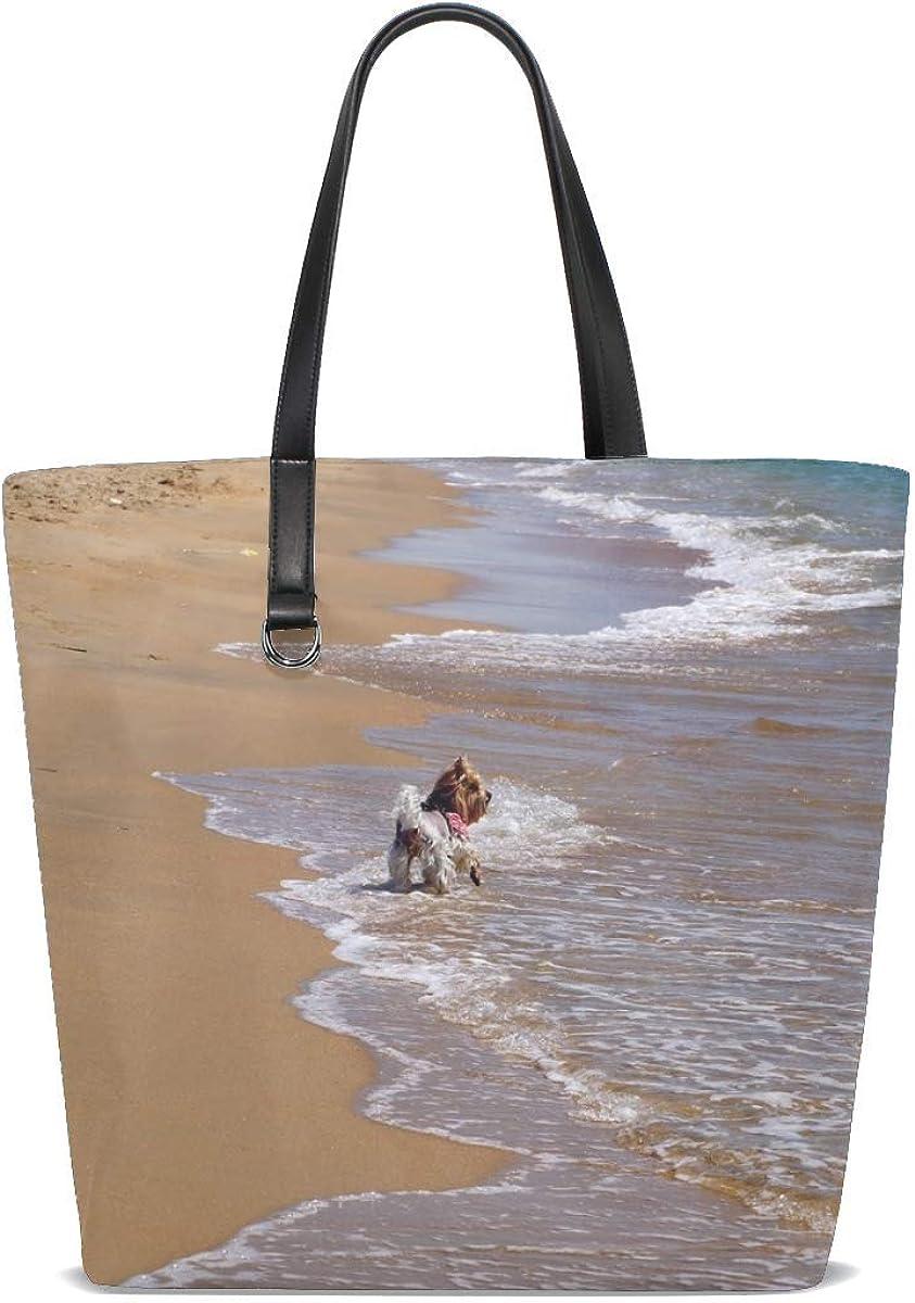 Beach Sand Surf Walk Dog Tote Bag Purse Handbag For Women Girls