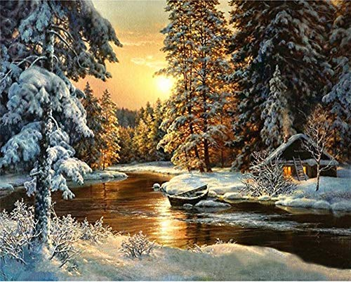 (YEESAM ART DIY Paint by Numbers for Adults Beginner Kids, Forest Winter, Sunset Cottage House, Cedar Tree 16x20 inch Linen Canvas Acrylic Stress Less Number Painting Gifts (Forest, Without Frame) )