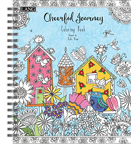 LANG - Adult Coloring Book - Cheerful Journey - Artwork by Debi Hron - Hardcover - Spiral - Designs for Beginner to Expert - 100 Pages - 9 x 11
