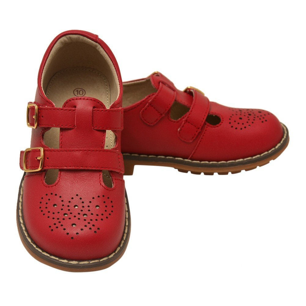 L'Amour Little Girls Red Double T-Strap Buckled Leather Shoes 12 Kids