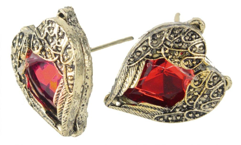 Leegoal Retro Bronze Red Heart Earrings Vintage Palace Angel Wings One pair
