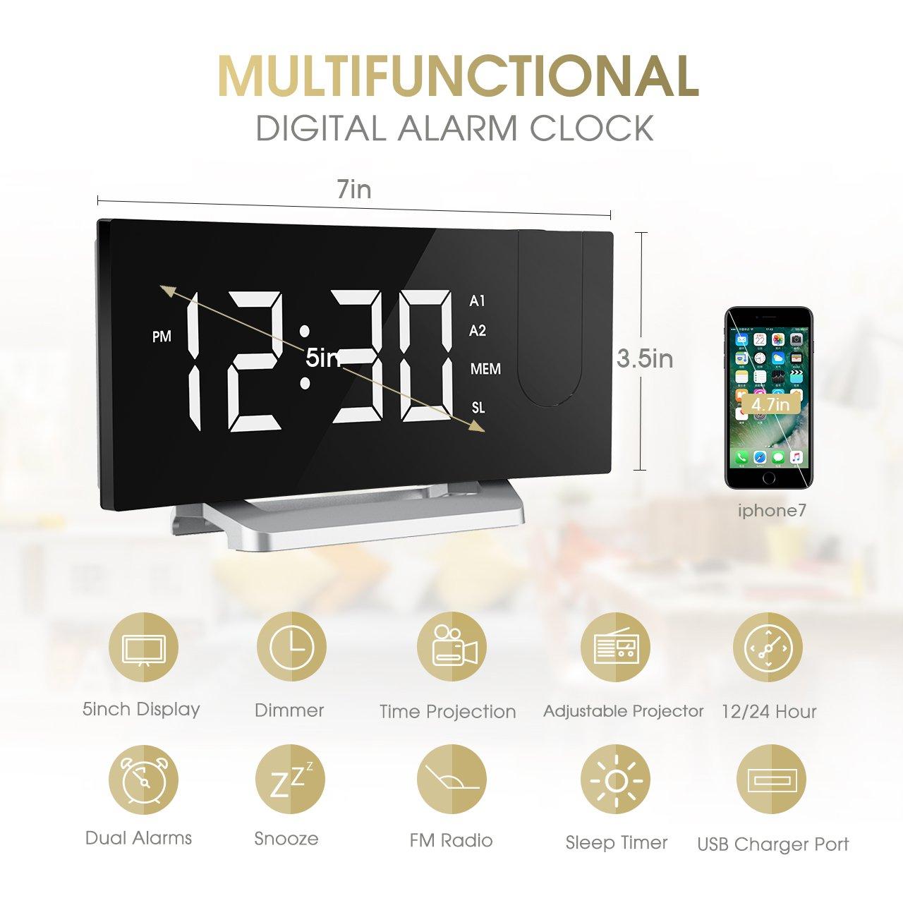Fm Projection Alarm Clock Mpow Radio Bedside Alarm Clock