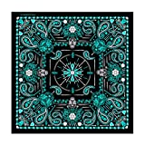 Hot Leathers Paisley Skulls Bandana (Black/Aqua Blue)