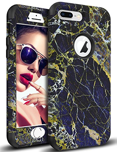 Vofolen Case Compatible iPhone 8 Plus Case iPhone 7 Plus Case Cover Marble Pattern Full-Body Protection Heavy Duty Hard PC Bumper Armor Shockproof TPU Protective Case for iPhone 7 Plus 8 Plus (Black)