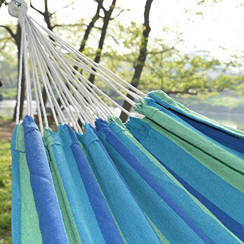 Prime Garden Canvas Hammock Cotton Fabric Travel Camping Hammock, Blue/Green