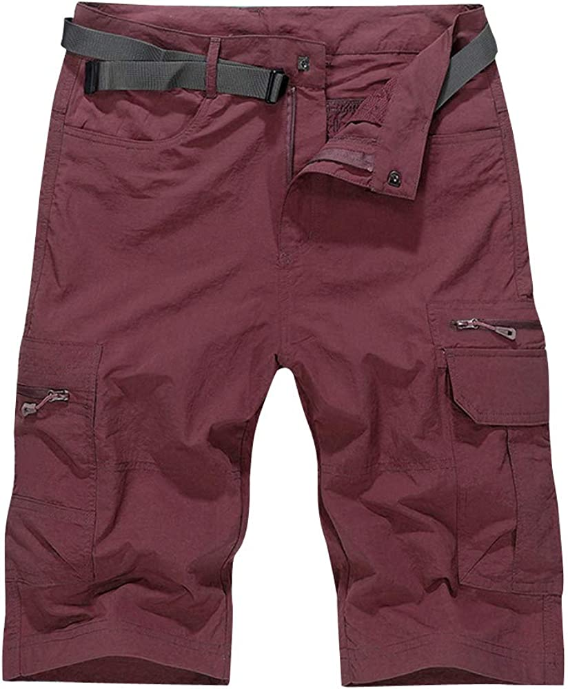 OCHENTA Men's Water-Resistant Quick Dry Cargo Shorts Wine Red 40