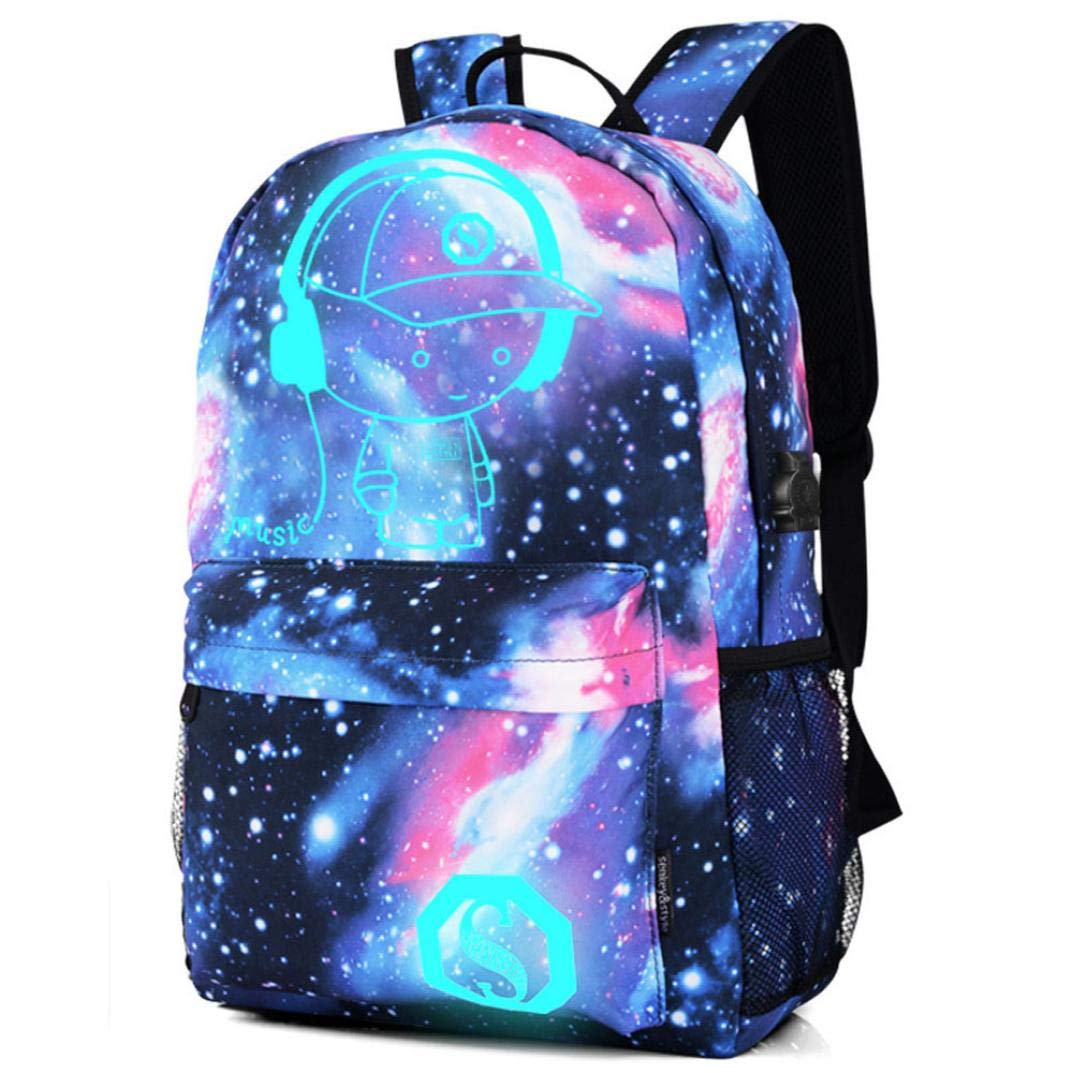 Galaxy Noctilucent Cartoon School Bag,Outsta Teenagers Travel Hiking Backpack Collection Canvas for Teen Girls Kids Classic Daypack Unisex (Music boy)