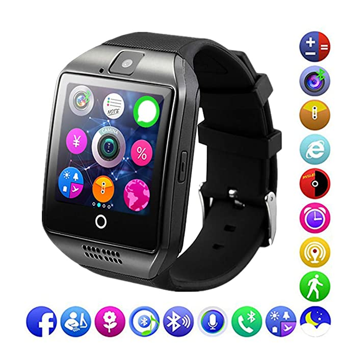 Bluetooth Smart Watch for Men,Android Smart Watch with Sim Card Slot muscie Sports for iPhone Samsung (Black)