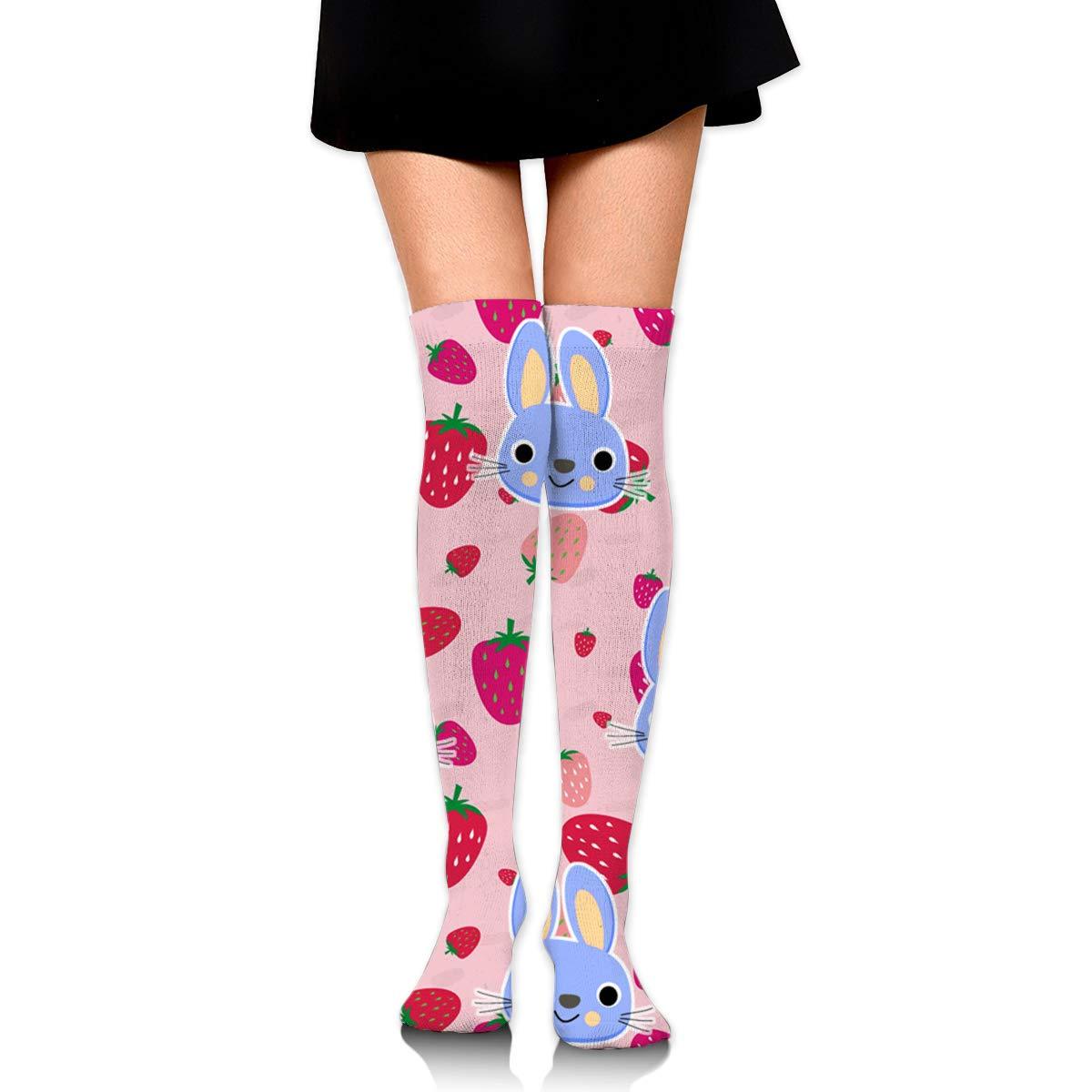 Light Venus Strawberry Rabbit Womens Ladies Cotton Long Knee Knee High Socks