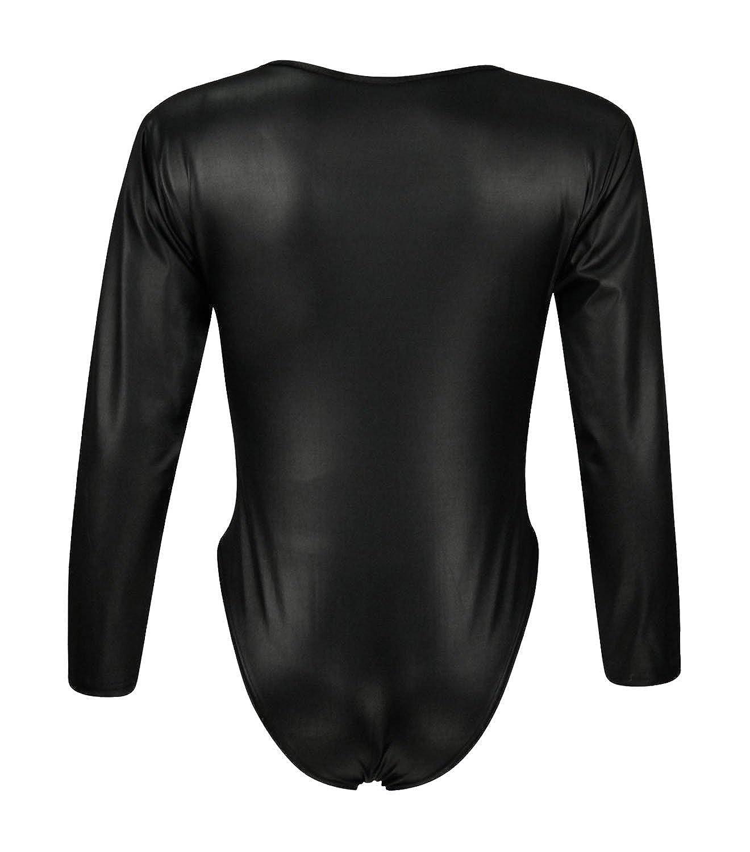 Forever Womens Plain Long Sleeves Wetlook Bodysuit Leotard Top