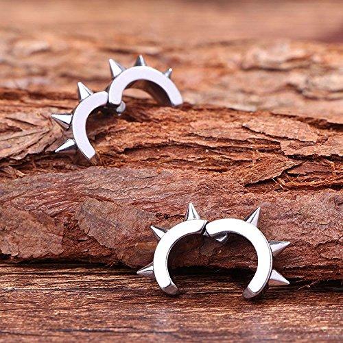 Retro Men Women Without Pierced Ear Clip Earrings Earring Dangler Eardrop Creative Steel Spikes Punk Girls (4 9mm Steel Color (a)