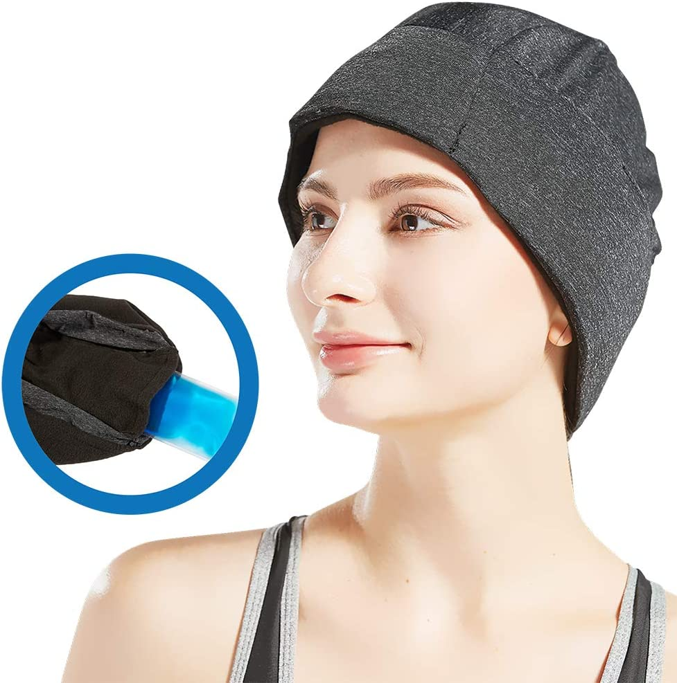 Migraine Relief Ice Pack Hat, Head Gel Ice Cap for Tension Headache Relief