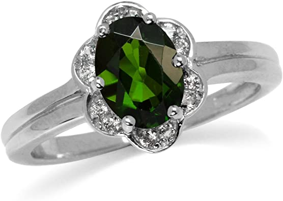 Green Chrome Diopside and White Topaz Gold Plated 925 Sterling Silver Right Hand Ring Silvershake 1.32ct