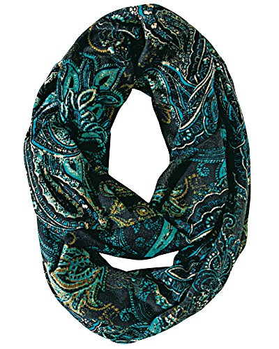 Green Paisley Scarf (Grasshoppers Paisley Eternity Scarf, Vivid Teal, One Size)