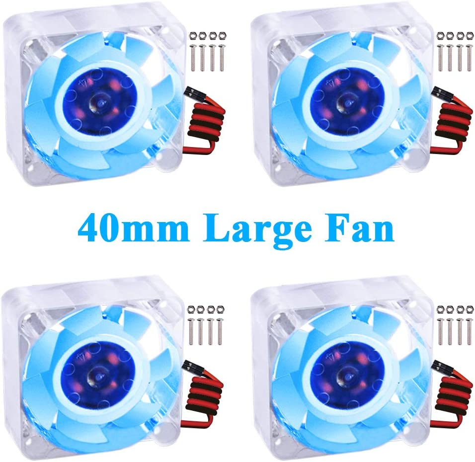 GeeekPi 4pcs Raspberry Pi 4 Quiet Fan, Raspberry Pi Cooling Fan 40x40x10mm 4010 Fan DC 5V 3.3V Brushless CPU Cooling Fan Cooler Radiator for Raspberry Pi 4 Model B, Raspberry Pi 3B+/3B/2B (Blue)