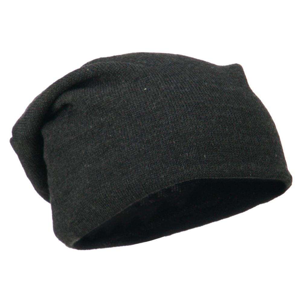fe00ef337ce Amazon.com  Otto Caps Big Size Knit Slouch Beanie - Heather Black OSFM   Clothing