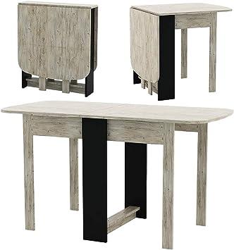 Premiere Klapptisch Beistelltische 135x65x74cm Couchtisch Esstisch  Küchentisch klappbar veränderbar für Wohnzimmer Küche natur/schwarz Holz,  Eiche