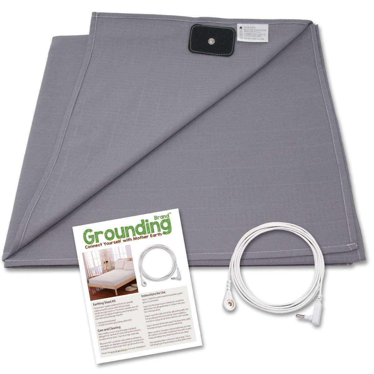 Grounding Brand Half Sheet with Earth Connection Cord - Silver Antimicrobial Conductive Mat for Better Sleep, EMF Protection and Healthy Energy, Large 98x35.5 fits Full, Queen, King, Rich Grey