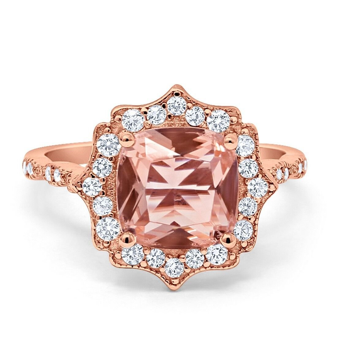 Blue Apple Co. Halo Art Deco Engagement Ring Cushion Simulated Morganite Round Cubic Zirconia Rose Tone 925 Sterling Silver, Size - 7