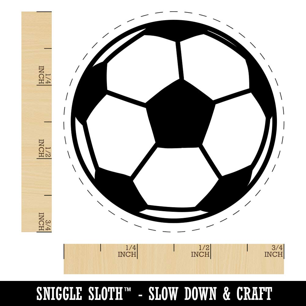 3//4 Inch Small Soccer Ball Rubber Stamp for Stamping Crafting Planners
