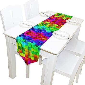 Amazon.com: WOOR Camino de mesa de doble cara con diseño de ...