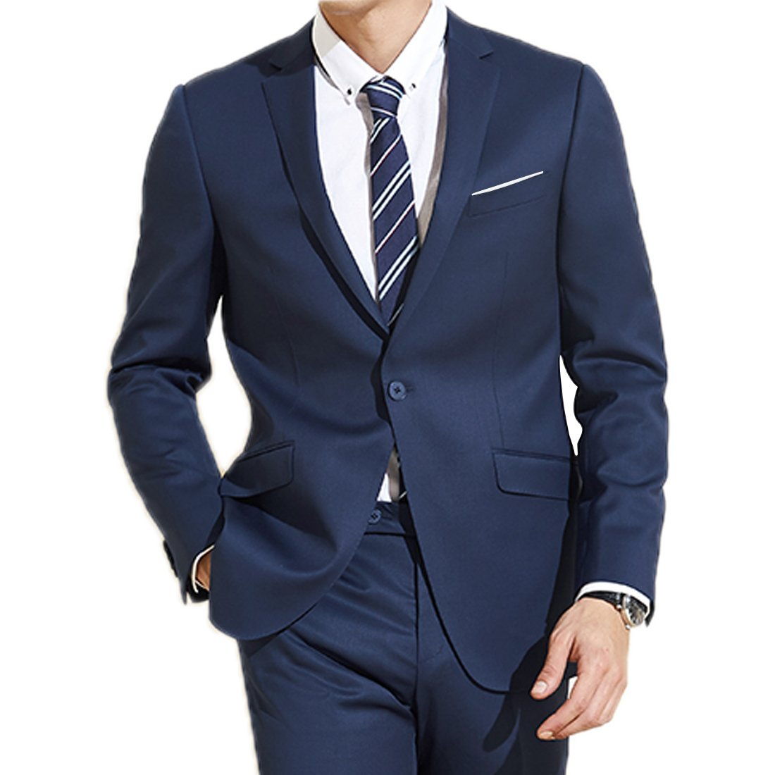 Jearey Mens Blazer Casual Slim Fit Lapel Suit Jacket One Button Daily Business Dress Coat (Navy, XX-Large) by Jearey (Image #1)