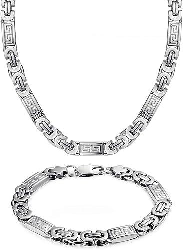 "Mens 8mm Byzantine Chain Stainless Steel 8.5/"" Bracelet+22/""//24/""//26/"" Necklace Set"