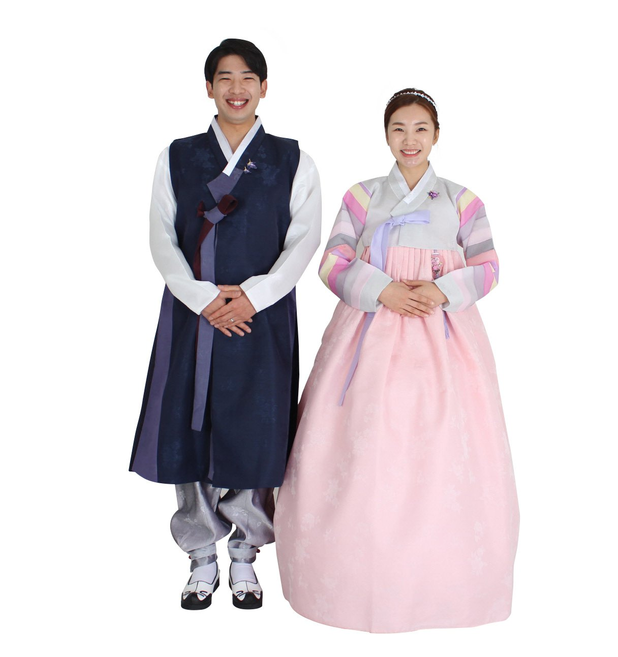 Hanbok Korea Traditional Costumes Womens Mens Couple Weddings Birthday Speical Ceremony co100 (pants length 117cm (waist 34 inches))