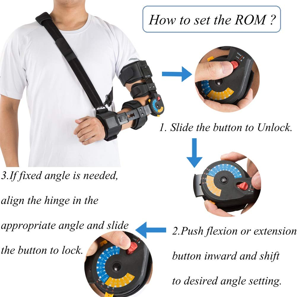 Hinged ROM Elbow Brace with Sling, Adjustable Post OP Elbow Brace Stabilizer Splint Arm Injury Recovery Support-Left by Medibot (Image #4)