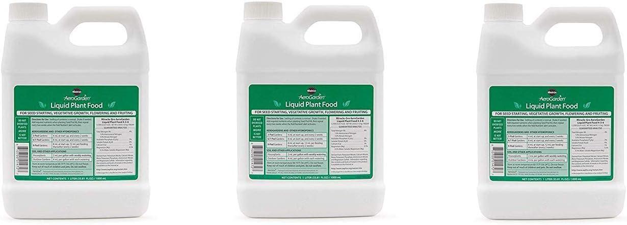 AeroGarden Liquid Nutrients (1 Liter) (Pack of 3)