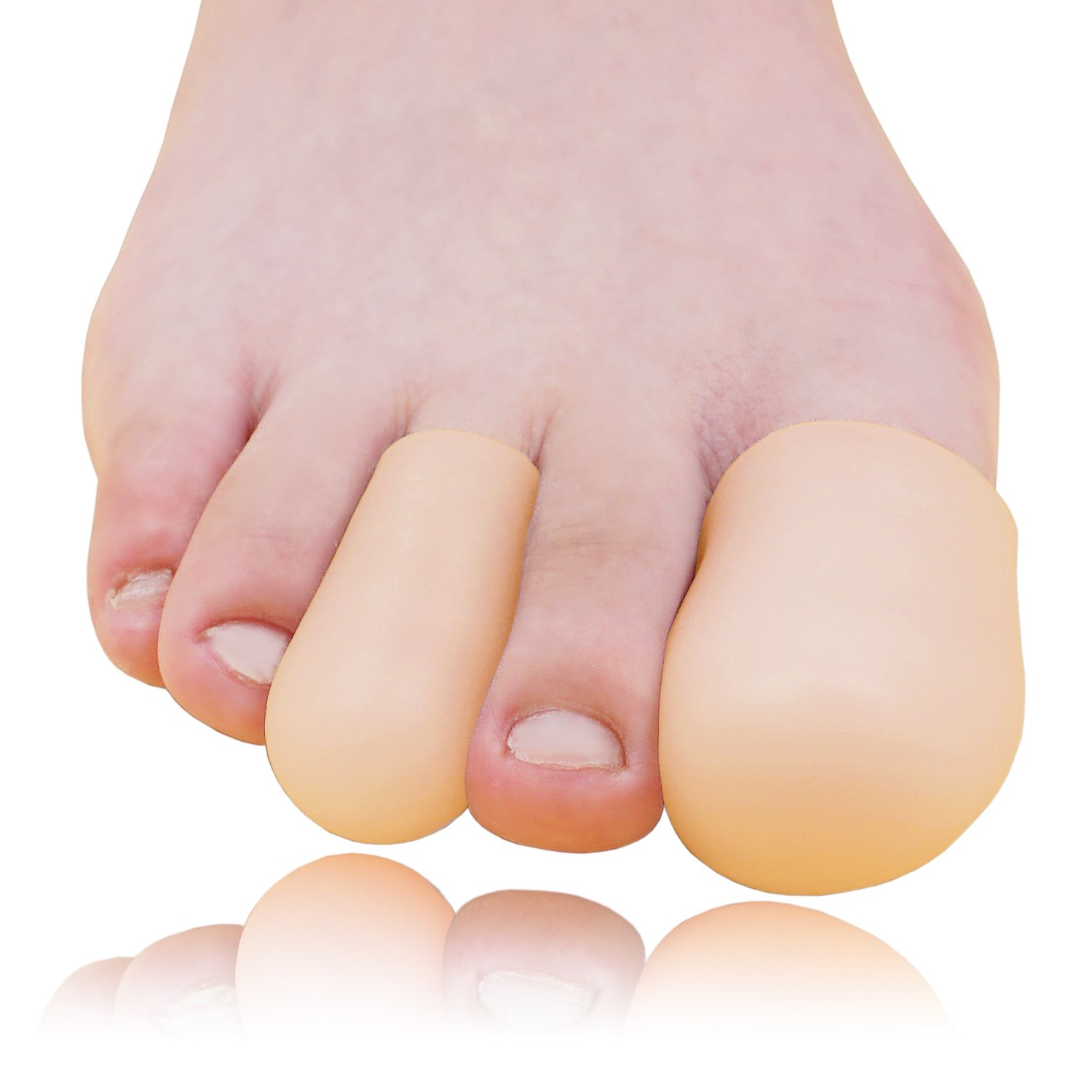 Dr. Foot's Gel Toe Caps Prevents Callus Relieve Pain from Corns, Blisters, Hammer Toes Bunion Pain Relief - 4 Pairs (Beige)