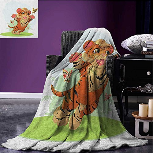 (Cartoon waterproof blanket Cub Playing with Butterflies in the Meadow Joyful Lively Baby Tiger Cat plush blanket Orange Cream Green size:51