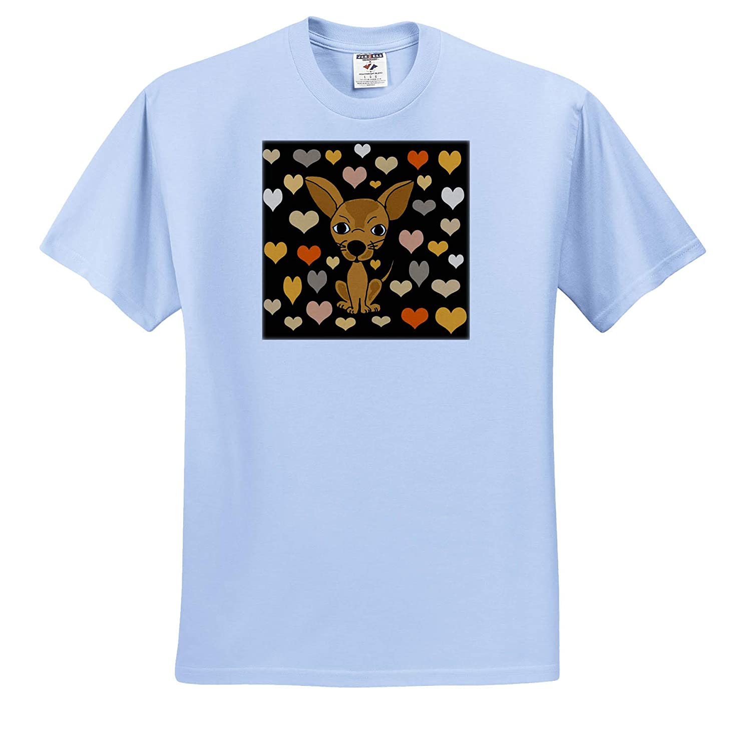 3dRose All Smiles Art T-Shirts Pets Funny Cute Chihuahua Dog and Heart Love Pattern Abstract