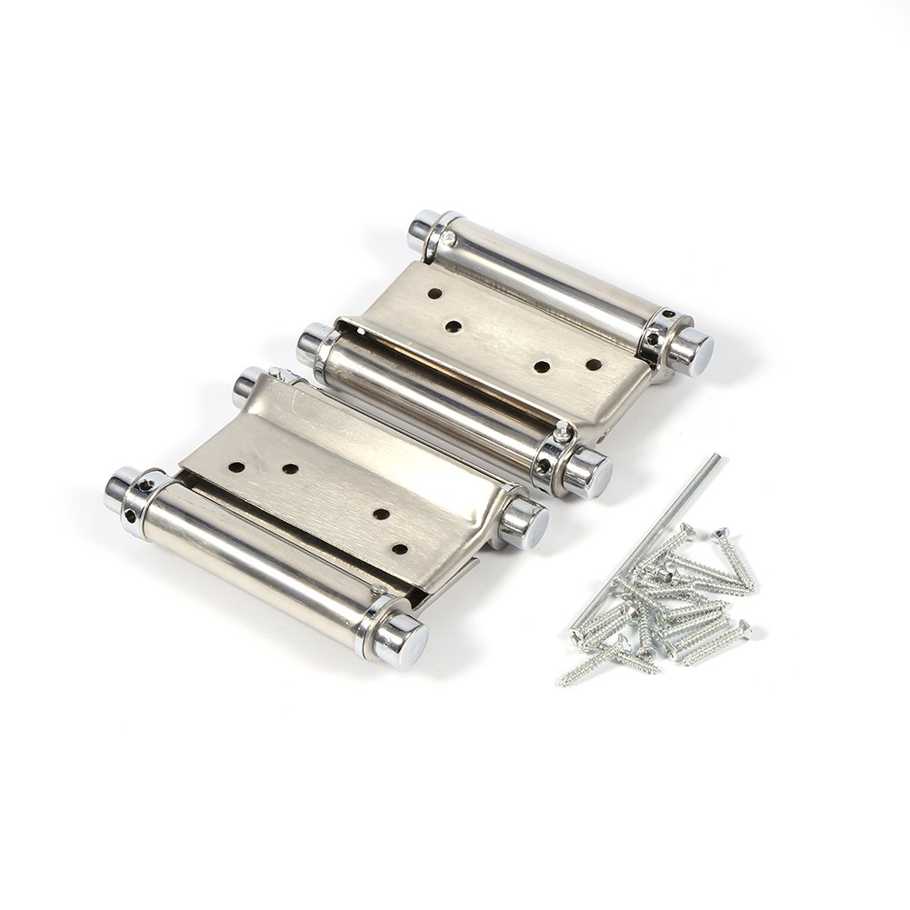 2PCS 3 Inch Self Closing Double Action Spring Hinges for Saloon Cafe Swing Doors