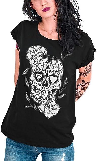 VIENTO Mexican Skull Camiseta para Mujer: Amazon.es: Ropa y accesorios